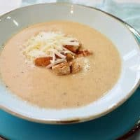 Roasted Cauliflower Soup with Simple Garlic Croutons