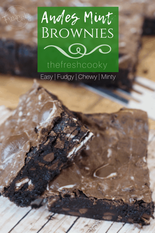 Got Mint? Mint chocolate lovers will go crazy for these mint brownies. With a chewy, fudgy brownie base and Andes Mints mixed into the batter, frosted with melted Andes Mints these will become a seasonal favorite! #thefreshcooky #andesmintbrownies #fudgybrownies #onepanbrownies #minty #cookieexchangerecipes #christmascookierecipes #browniesforacrowd #holidaybakingrecipes #seasonalfavorite