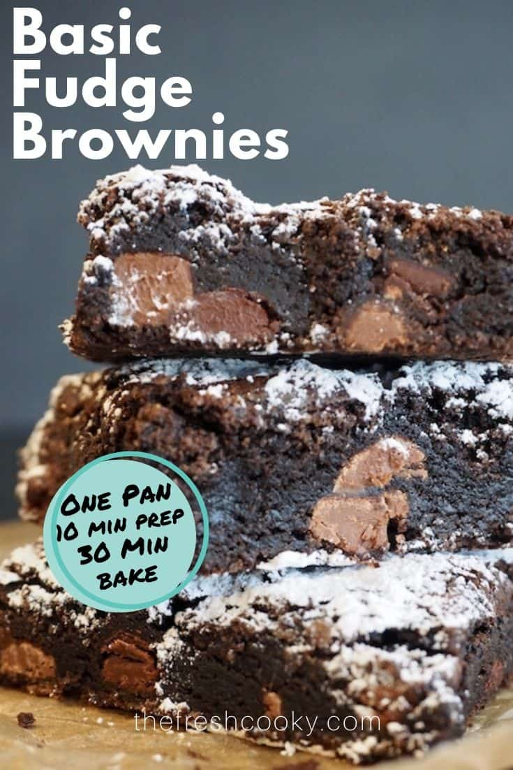 STOP! Grab the simple ingredients to make these EASY BASIC FUDGE BROWNIES! A long-time favorite basic fudge brownie recipe. No chocolate melting, uses one bowl (or pot), and simple ingredients for rich, fudgy, chewy brownies with an incredibly easy melt-in-your-mouth frosting option! Can you say Lunch Lady Brownies? Steps and recipe on thefreshcooky.com | #frosted #chocolate #brownies #fudgy #chewy #bestbrownies #easyrecipes #highaltitude via @thefreshcooky
