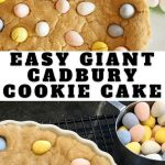 Long pin for Giant Cadbury Cookie Cake, top image baked giant sugar cookie, bottom image unbaked sugar cookie cake adding mini cadbury chocolate eggs.