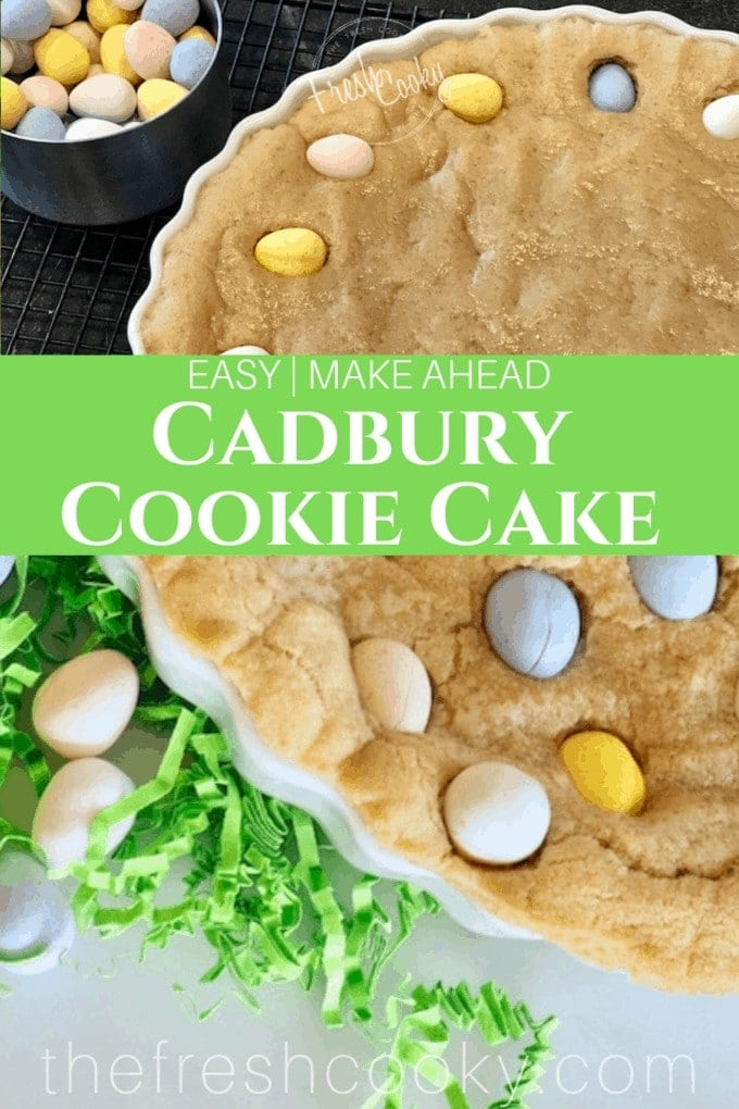 The perfect Easter or Spring dessert. This make ahead, giant, chewy, soft and thick sugar cookie studded with Cadbury Chocolate Eggs. www.thefreshcooky.com | #dessert #easter #cookie #cake #recipe #cadburyeggs #mothersdayrecipe #skilletrecipe