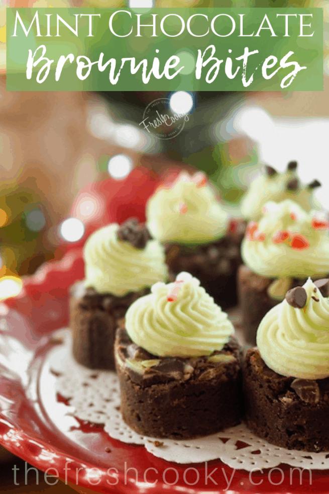 Mini Mint Brownie Bites | www.thefreshcooky.com