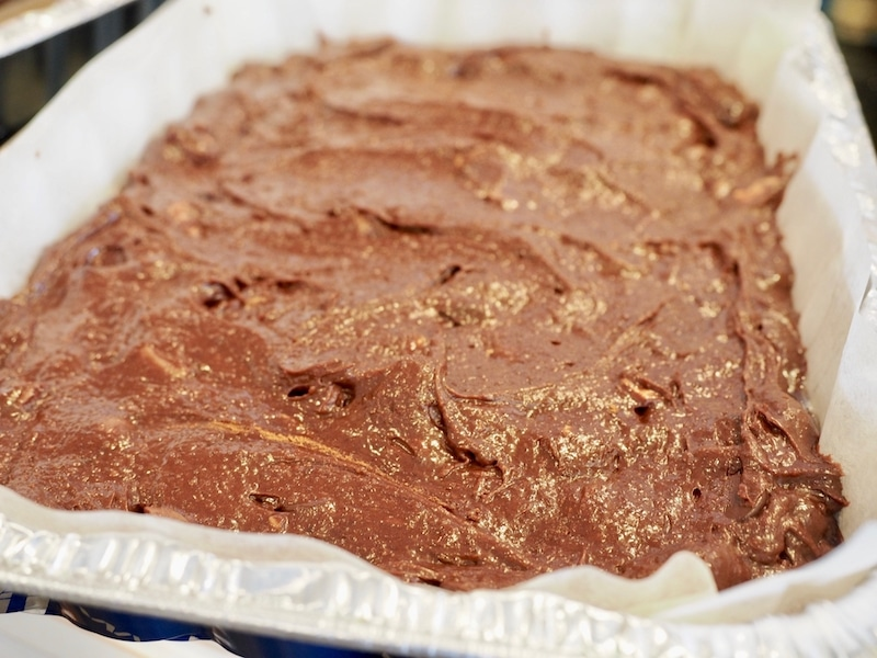 brownie batter in pan | www.thefreshcooky.com #brownies #robineggbrownies #whopperbrownies
