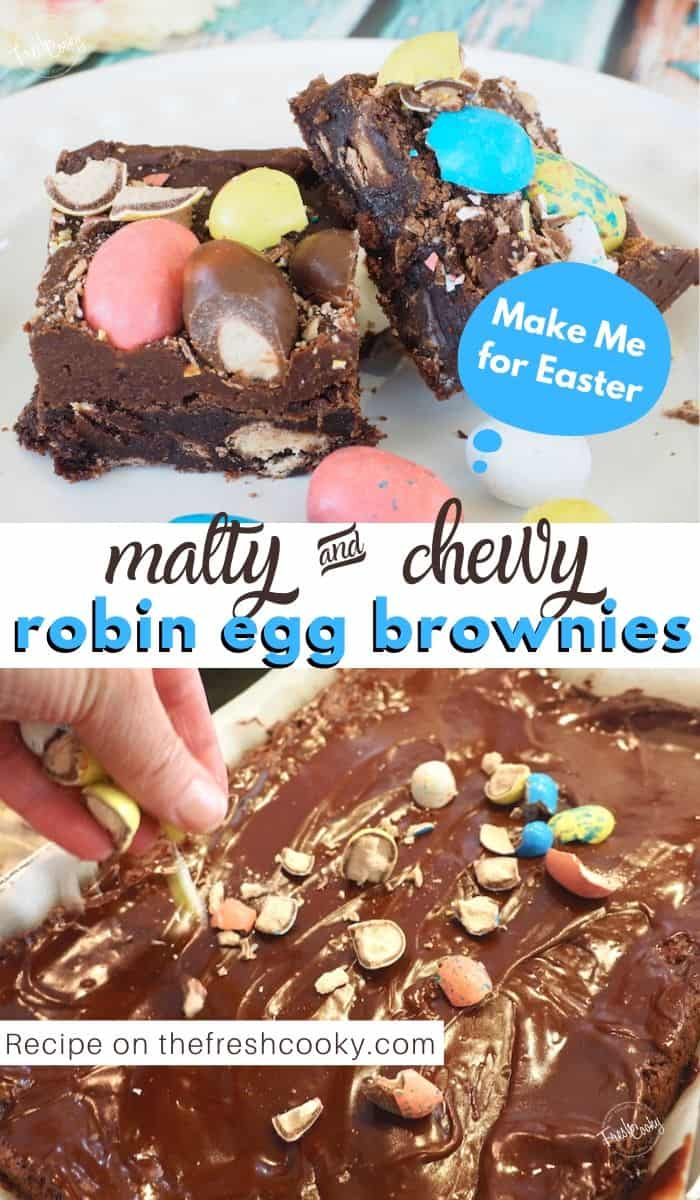 Dare you to eat just one! Loaded with malty, Robin Egg Whoppers and Malted Milk Whoppers these fudgy frosted brownies are perfectly easy to whip up for your Easter celebration. Recipe on www.thefreshcooky.com #easterdessert #browniesrecipe #brownies #onepan #best #easyrecipes #maltesers #maltedmilk #lunchladybrownies via @thefreshcooky