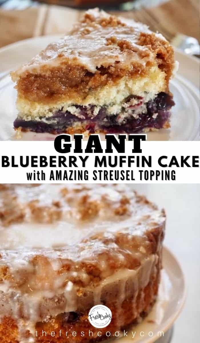 An easy, moist GIANT BLUEBERRY MUFFIN in cake form! This blueberry crumble cake is loaded with fresh (or frozen) blueberries, topped with an amazing streusel crumb topping and  finished with a light glaze. A crowd pleaser! Recipe via @thefreshcooky | #blueberries #blueberry #crumb #cake #coffeecake #crumble #giant #muffin #highaltitude #holidaybaking #brunch #Christmas #breakfast via @thefreshcooky