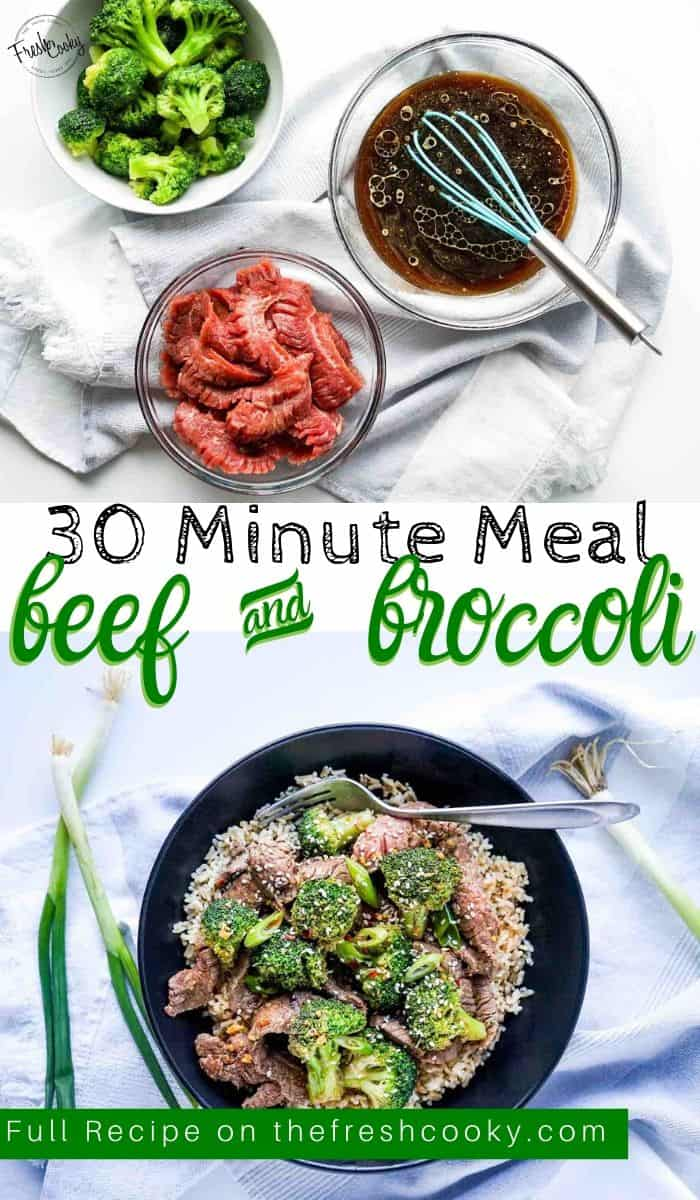 Why buy takeout, when you can whip up this healthy and delicious beef and broccoli dinner in 30 minutes or less! Recipe via @thefreshcooky | #easyrecipes #best #copycat #betterthantakeout #beef #broccoli #30minutemeal #easyweeknightmeal #healthy via @thefreshcooky