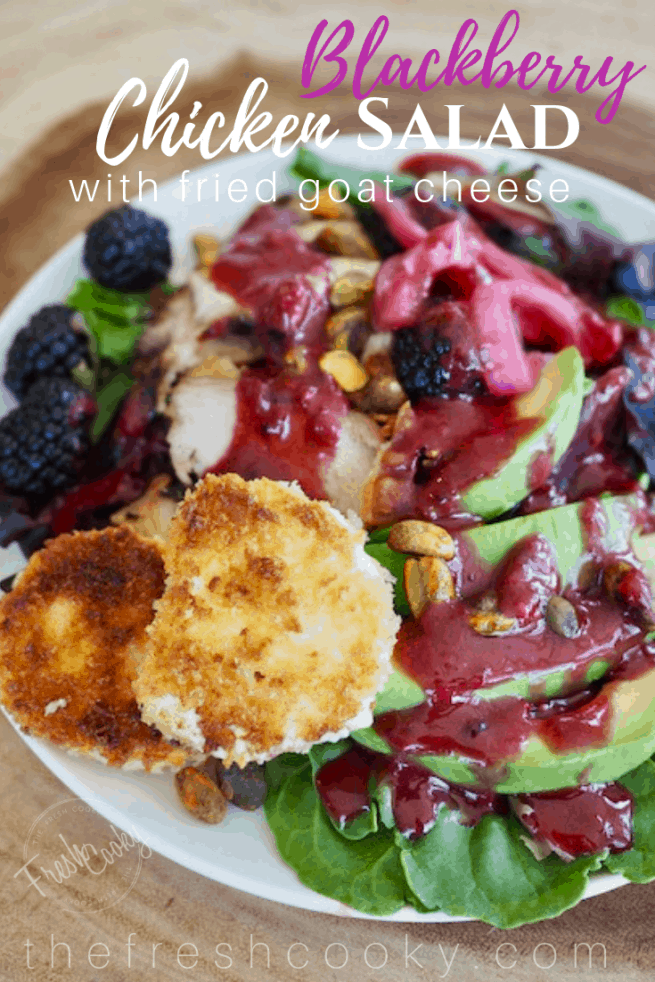 Blackberry Balsamic Chicken Salad with Fried Goat Cheese | www.thefreshcooky.com