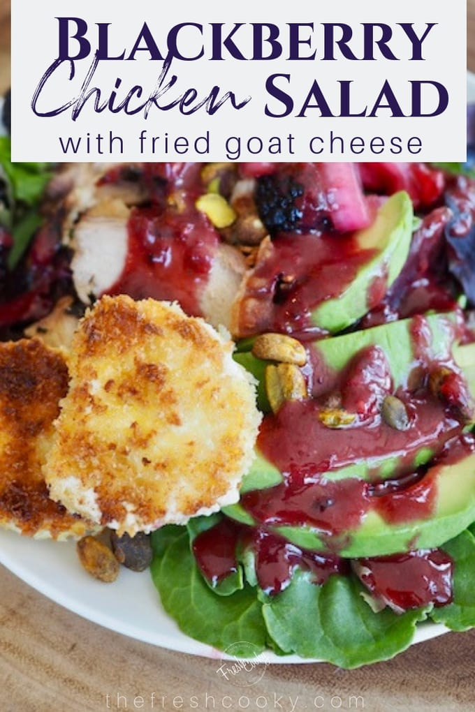 Blackberry chicken salad with gooey blackberry dressing, sliced avocados, pistachios and friend goat cheese.