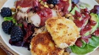 Blackberry Grilled Chicken Salad with Fried Goat Cheese