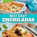 Long pin for restaurant style cheese enchiladas using your own sauce, top image of tray of enchiladas with spanish rice in background, bottom image close up of enchiladas on a plate.