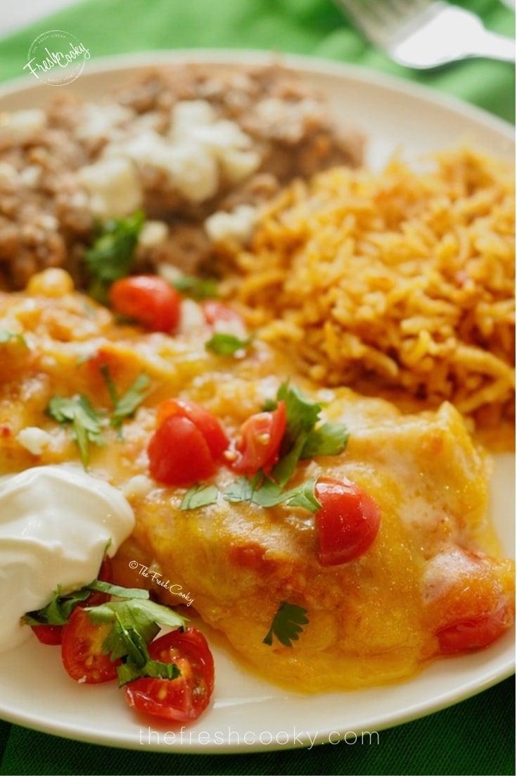 finished enchiladas on a plate