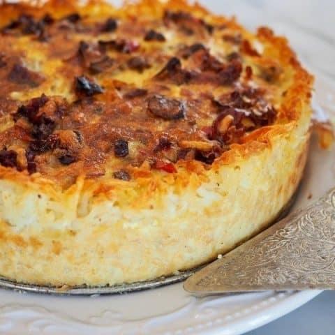 Prosciutto & Gruyere Quiche with Hash Brown Crust