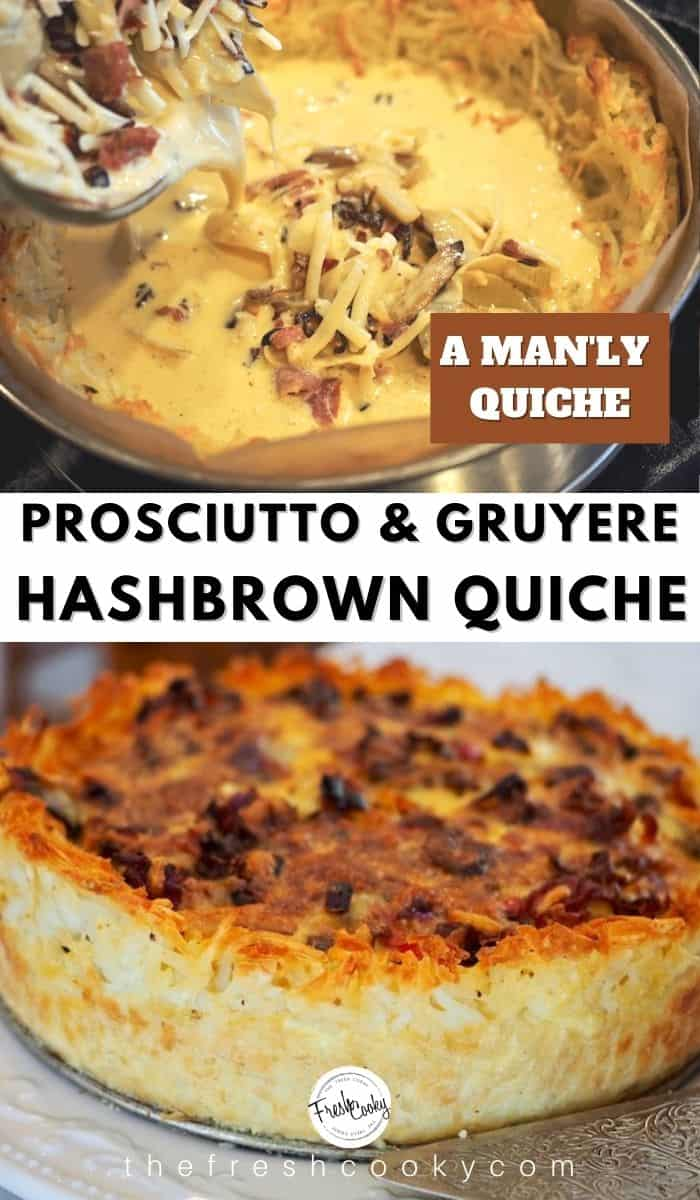 A delicious, make ahead manly sized and tasting quiche. Featuring prosciutto & gruyere cheese, leeks, peppers, mushrooms in an amazing gluten free hash brown crust. Recipe via @thefreshcooky | #holiday #breakfast #Christmas #weekend #brunch #Thanksgiving #NewYears #glutenfree #potatocrust   via @thefreshcooky