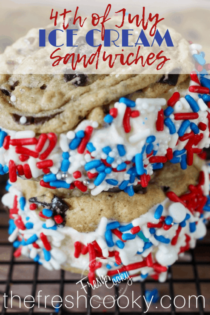 Cool and creamy ice cream, sandwiched between two chewy Chocolate Chip Cookies, dipped in sprinkles no less -- the very essence of summertime!  #thefreshcooky #icecreamsandwich #chocolatechipcookies #icecream #dessert