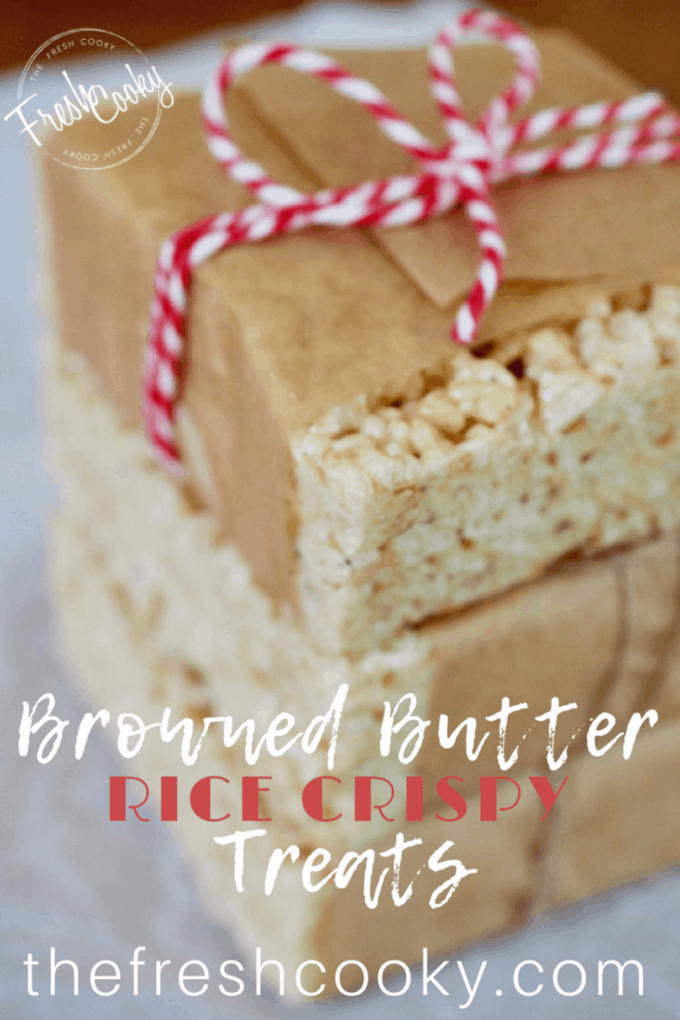 Pinterest image of brown butter rice crispy treats.