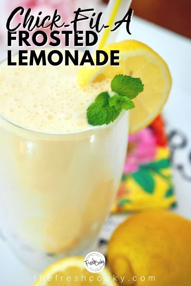Refreshing and simple Copycat Chick-Fil-A Frosted Lemonade, fresh lemons, natural sugar, vanilla ice cream, just 3 ingredients to this refreshing and delicious summer beverage. | www.thefreshcooky.com #summerdrinks #frozenlemonade #vanillaicecream #drinks #summerdrinks via @thefreshcooky