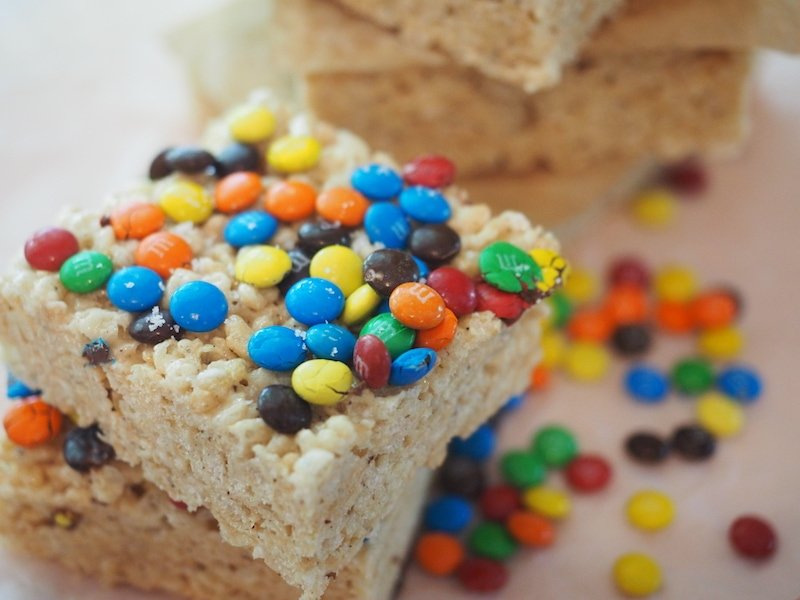 M & M's on top of browned butter rice crispy treats