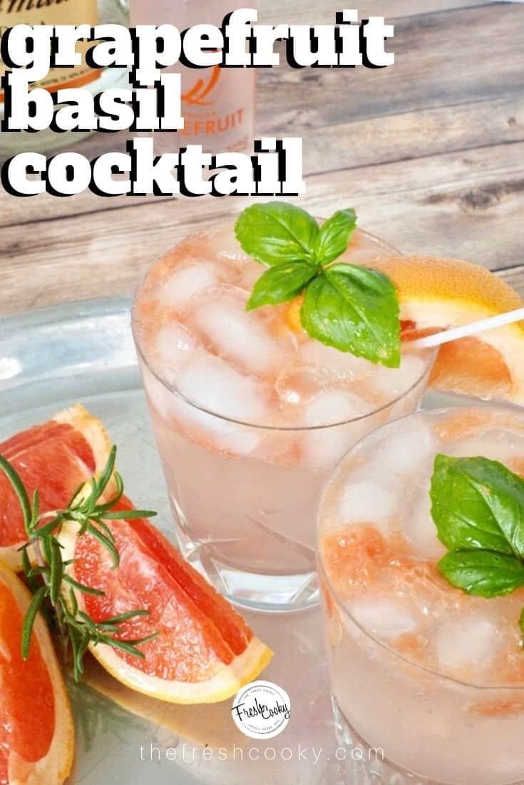 A recipe for a refreshing, bright and delicious cocktail (or mocktail) using ruby red grapefruit, fresh basil and a fizzy grapefruit soda. This Grapefruit Basil Vodka Smash is the perfect drink for a hot summer evening. Recipe via @thefreshcooky | #cocktail #grapfruitbasilvodka #summerdrink #basil #vodkacocktail #cocktail #mothersday #spritzer via @thefreshcooky