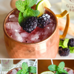 Pin for blackberry bourbon smash with three images of a copper mug filled with bright and delicious blackberry bourbon mule.