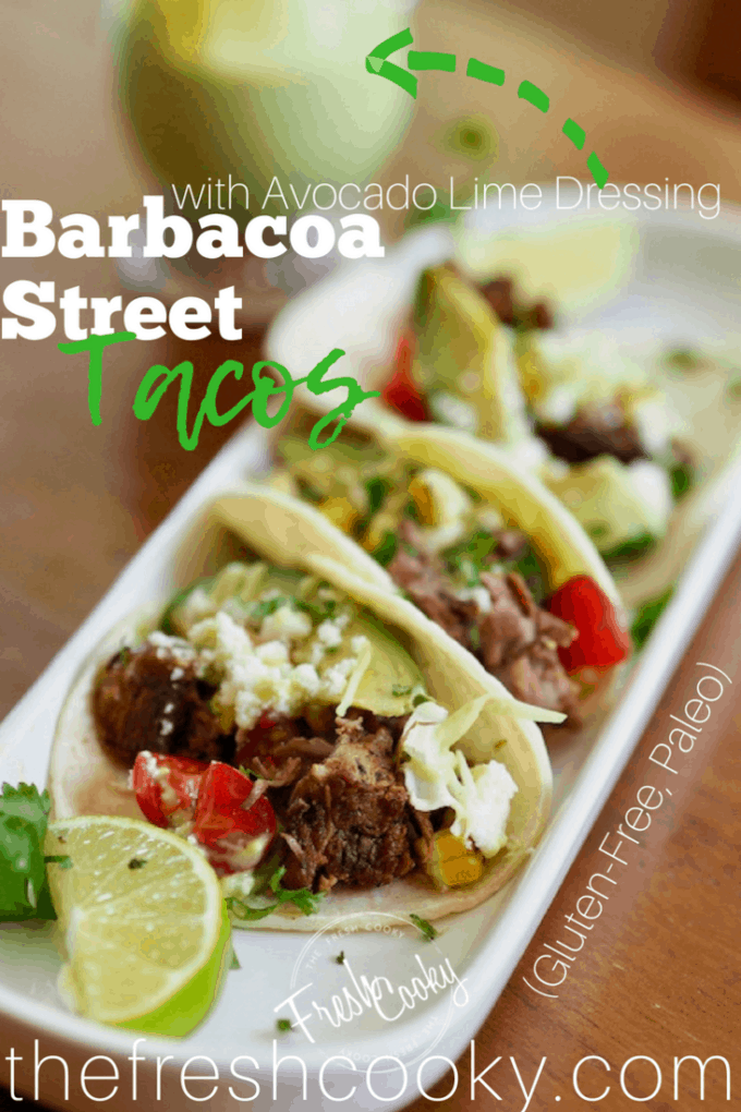 Barbacoa Street Tacos with Avocado Lime Dressing #thefreshcooky #streettacos #glutenfree #paleo #barbacoa #beef #tacotuesday #slowcooker #crockpot #avocadolimedressing
