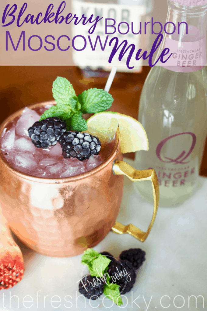 Blackberry Bourbon Moscow Mule | www.thefreshcooky.com #moscowmule #bourbon #cocktail #mocktail #blackberry #gingerbeer #qdrinks