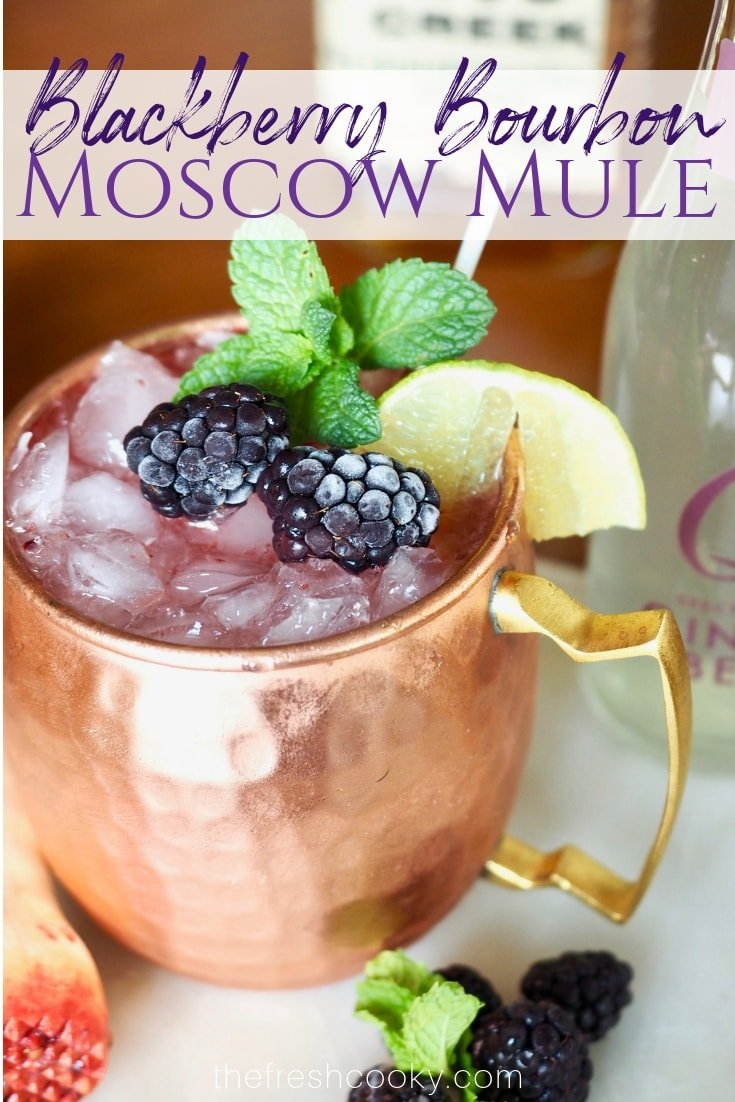 This refreshing Blackberry Bourbon Moscow Mule is a fun twist on the classic mule. With fresh smashed blackberry's, good bourbon, fresh lime and ginger beer this cocktail is easy and beautiful. #thefreshcooky #cocktail #recipe #blackberries #moscowmule #mocktail via @thefreshcooky