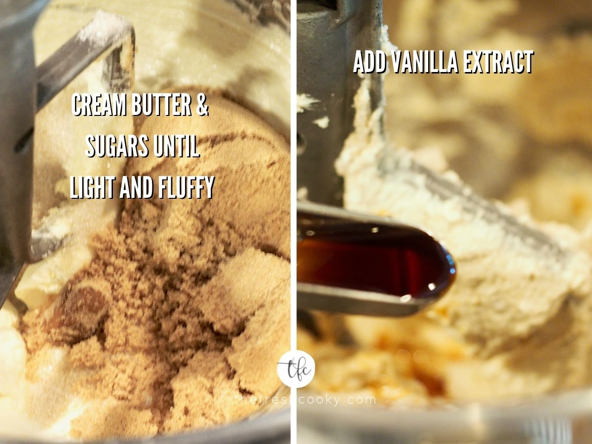 Process shots of creaming the butter and sugars in the first image and adding vanilla extract in the second image for Cake Batter Cookies.