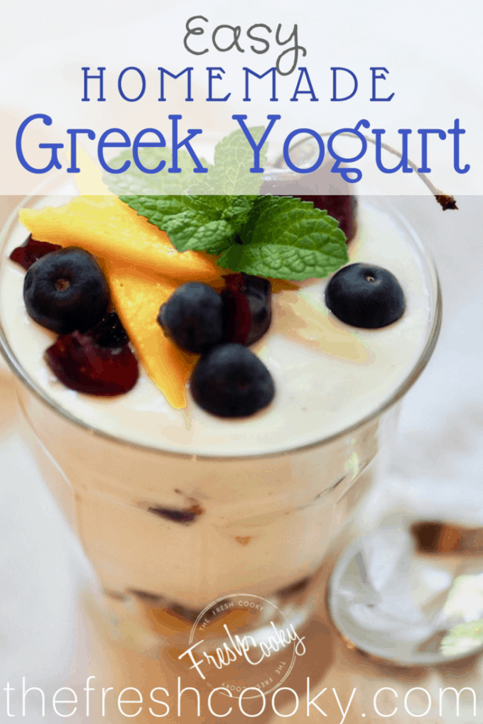 Creamy and thick, Homemade Greek Yogurt, keep it plain or sweeten and add vanilla bean. #thefreshcooky #homemade #greekyogurt #yogurt #vanillabean #copycatnoosa #easy