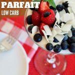 Red, white and Blue yogurt parfait from top down with blueberries, raspberries and vanilla yogurt.