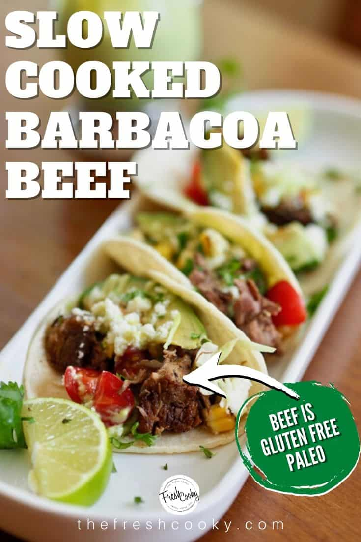 Barbacoa Beef Street Tacos, a simple Taco Tuesday meal, start the tender beef in the morning for a simple, no heat the kitchen meal. Plus make this delish avocado lime dressing to drizzle on top! Grab the recipe @thefreshcooky | #thefreshcooky #streettacos #tacotuesday #barbacoabeef #cleaneating #glutenfree #paleo #easyweeknightmeal via @thefreshcooky