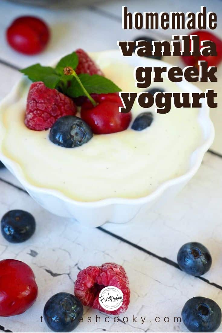 How to make your own Greek Yogurt! Economical, easy and so delicious! Not as tart as store bought plain yogurt! Plus easy instructions to make copycat Noosa Vanilla Bean Yogurt Recipe via @thefreshcooky | #greekyogurt #homemade #organic #yogurt #makeyourown #howto via @thefreshcooky