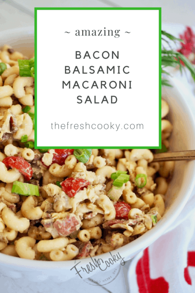 Bacon Balsamic Macaroni Salad from thefreshcooky.com is perfect for any potluck, BBQ, Labor Day celebration. Not your typical macaroni salad; this one is loaded with bacon, cheese, tomatoes, crisp celery and mixed in a creamy balsamic dressing. #baconbalsamicmacaronisalad #bacon #macaronisalad #balsamic #makeahead