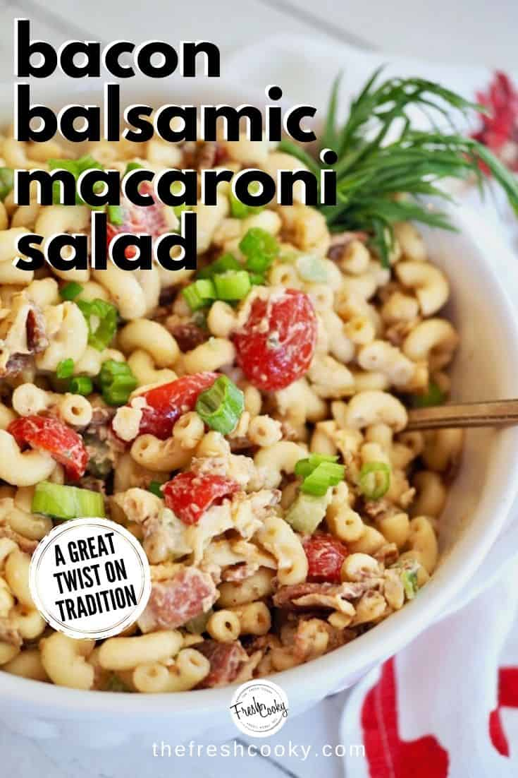 Bacon Balsamic Macaroni Salad from thefreshcooky! This pasta salad recipe is perfect for any potluck, BBQ, or summer celebration. Not your typical pasta salad; this one is loaded with bacon, cheese, tomatoes, crisp celery and mixed in a creamy balsamic dressing. Tastes even better the next day! Recipe on www.thefreshcooky.com   #pastasalad #bacon #balsamicdressing #makeahead #summerrecipes via @thefreshcooky
