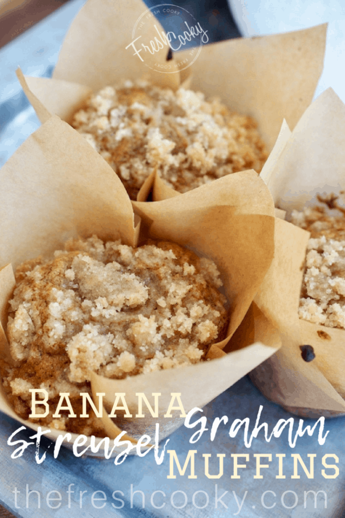 Streusel...need I say more!! Loaded with Bananas, oat, graham and regular flour, lightly sweetened with a little sugar and honey they are the perfect breakfast treat or afterschool snack. #muffins #bananamuffins #oatflour #grahamflour #bananaoatmuffins #healthymuffins #moist #afterschoolsnack #kidslunch #kidfriendly #thefreshcooky