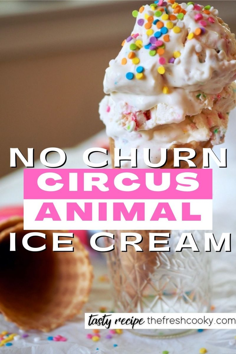 Pin for no churn circus animal ice cream with ice cream cone filled with two scoops of creamy Circus Animal Ice Cream.