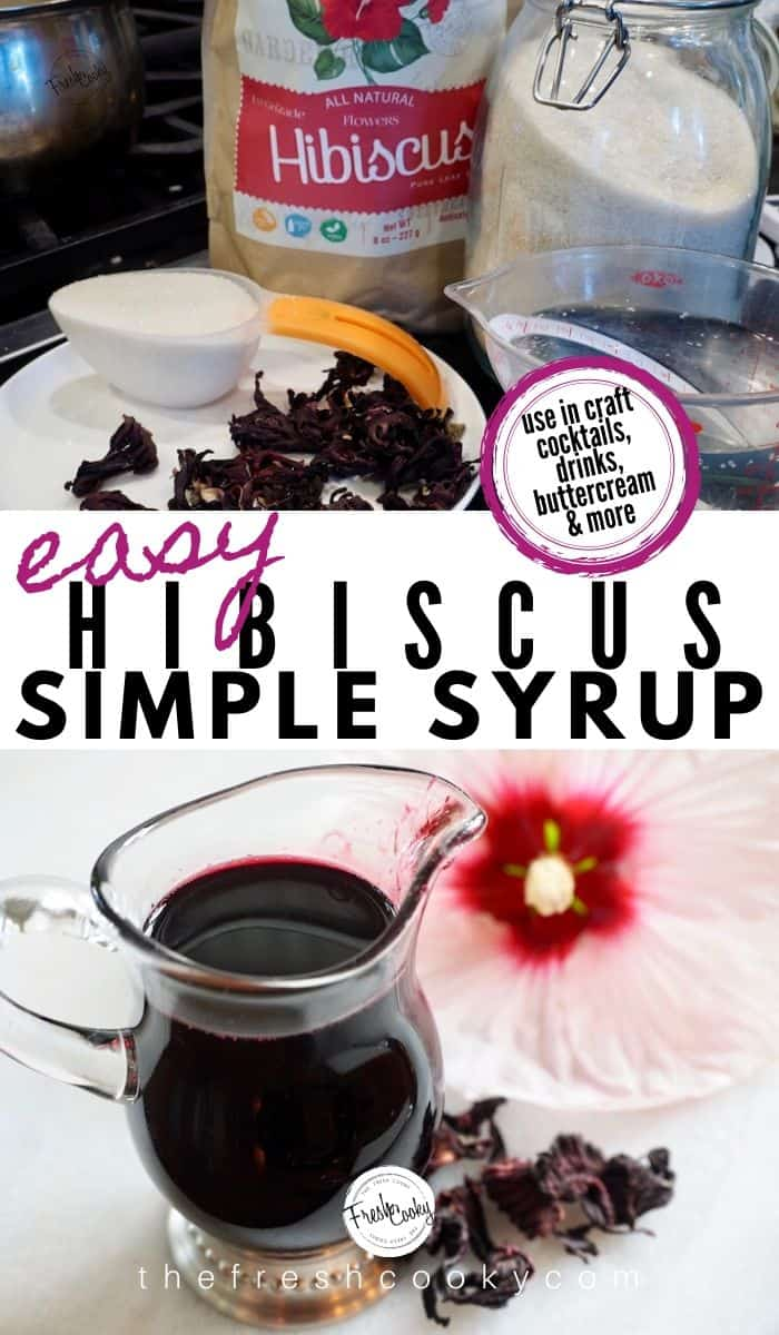 How to make Hibiscus Simple Syrup! So simple, natural and beautiful. With floral and lemon undertones. Pour in any drink, cocktail, slushie, smoothie or mocktail. RECIPE via @thefreshcooky | #floral #simplesyrup #hibiscus #summerdrinks via @thefreshcooky