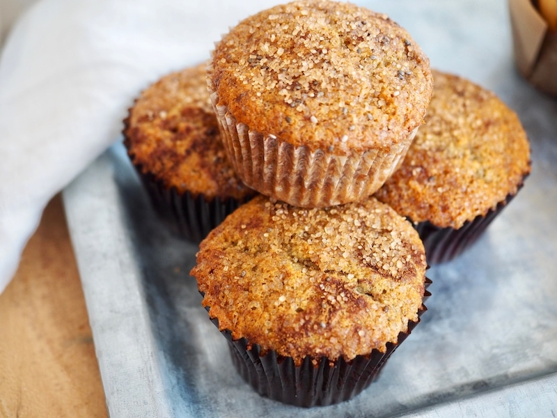 Banana Graham Oat Muffins. These light, moist banana oat muffins! #muffins #bananamuffins #oatflour #grahamflour #bananaoatmuffins #healthymuffins #moist #afterschoolsnack #kidslunch #kidfriendly #thefreshcooky