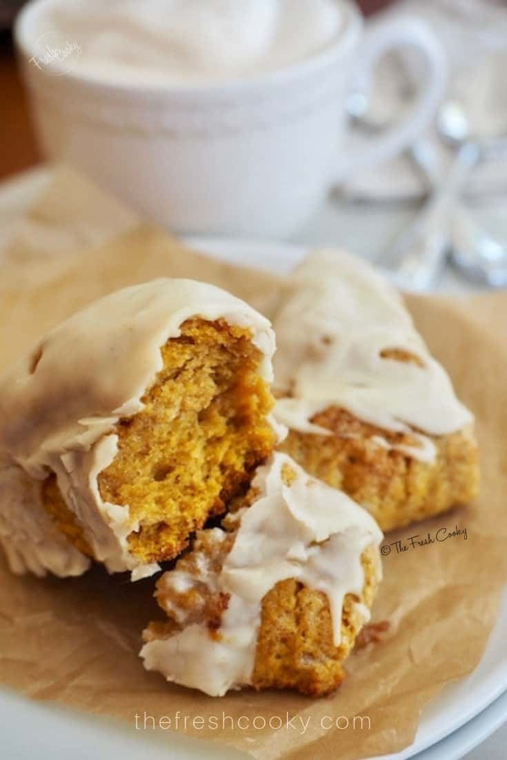 Maple Pumpkin Scone with Glaze broken to reveal inside of scone | The Fresh Cooky