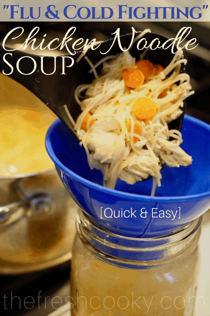 Ah, Old-Fashioned Chicken Noodle soup that's loaded with amazing flavors, simple ingredients and is ready in 30 minutes or less. A comfort food classic that's both hearty and quick! #thefreshcooky #chickennoodlesoup #chickensoup #soup #cleaneating #easy