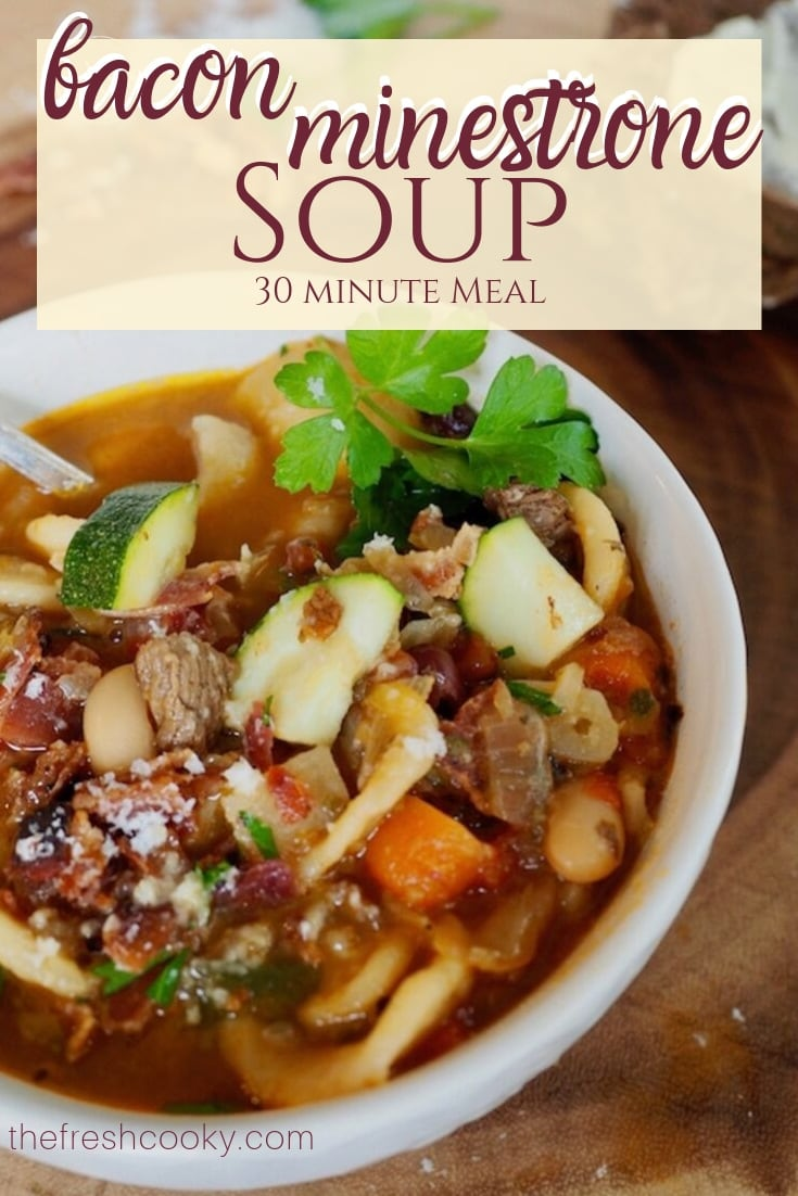 bowl of bacon beef minestrone soup