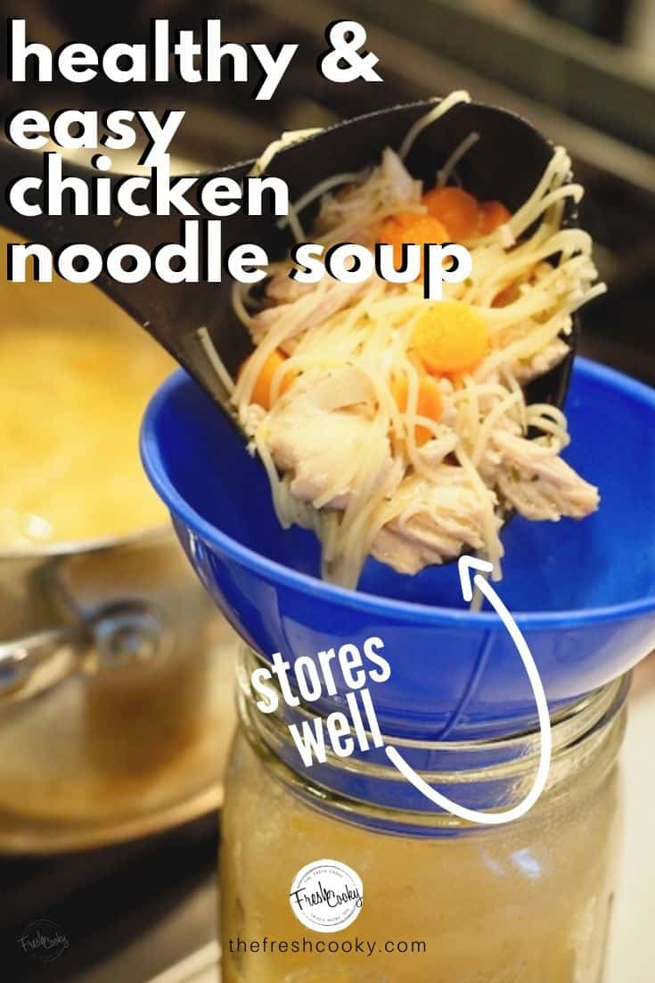 Store this homemade Chicken Noodle Soup for easy lunches. A simple and easy Chicken Noodle Soup that's ready in 30 minutes or less! Comfort food at it's finest! Recipe via @thefreshcooky | #best #homemade #recipe #easyrecipes  #healthy via @thefreshcooky