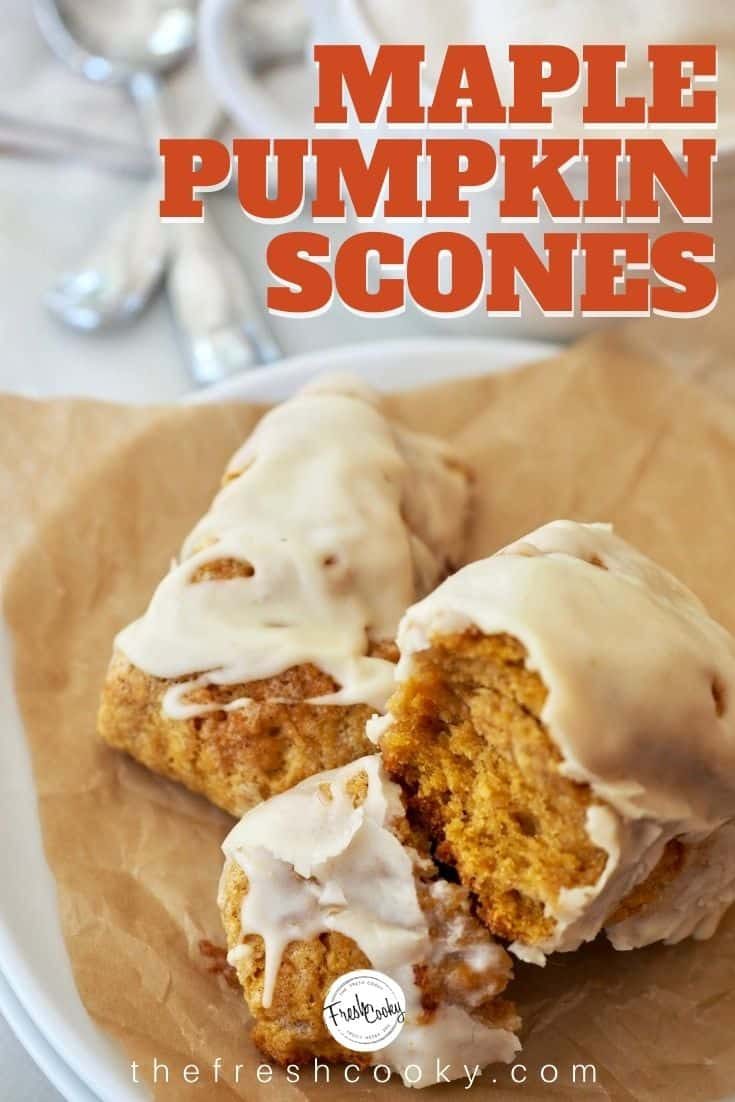 These whole-grain Maple Pumpkin Scones are soft, all-natural, sweetened with maple syrup and topped with a browned butter maple glaze. Perfect with a steamy cup of coffee or chai tea. #thefreshcooky #pumpkinscones #maple #spice #scones via @thefreshcooky