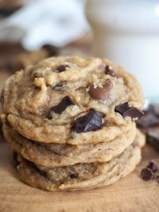 Not another Chocolate Chip Cookie recipe?! Said, no one, ever! These Triple Chocolate Chip Pudding Cookies are buttery, chewy, soft, and loaded with chocolate chips. The center is gooey, melty with a hint of oats and topped with flaky sea salt. #thefreshcooky #cookies #pudding #chocolatechips #baking #recipe