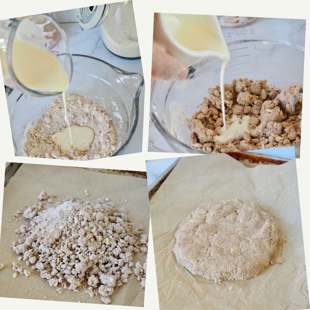 Adding wet to dry scone mix, shaping disc Cinnamon Crunch Scones