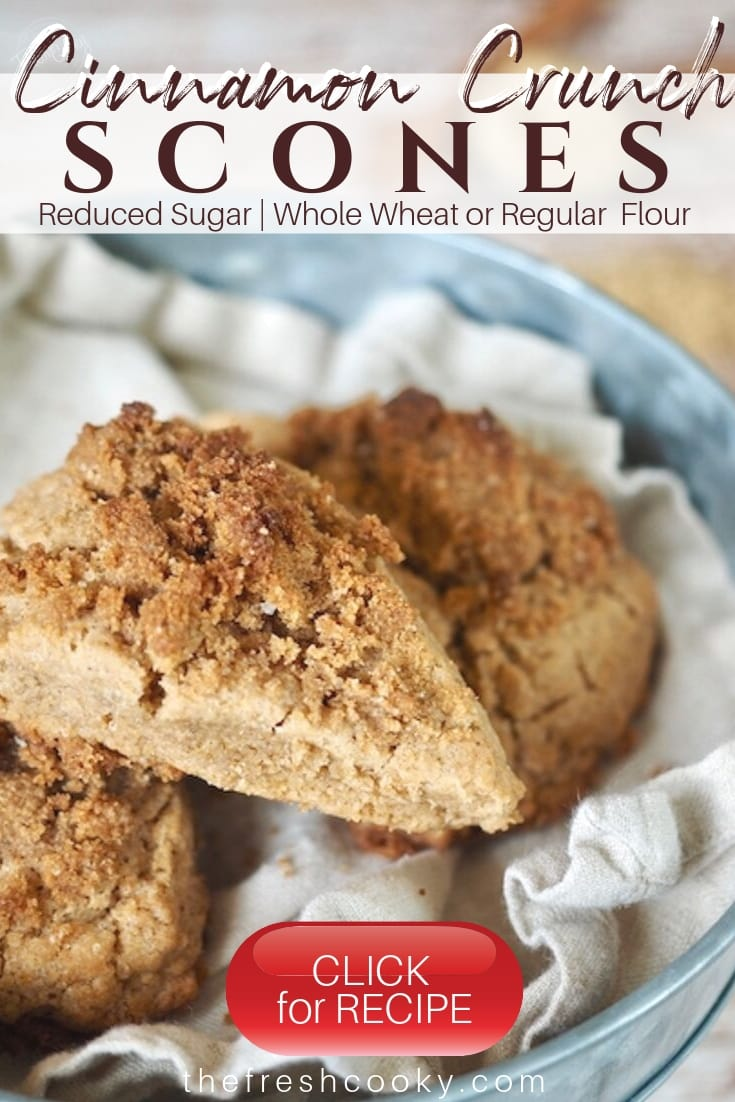 WOWZA!! This recipe for Cinnamon Crumb Scones is so SIMPLE. Tender, buttery, whole-grain, cream scones that are full of sweet cinnamon flavor. With plenty of cinnamon crumb crunch topping! Ready in less than an hour. Recipe on thefreshcooky.com | #scones #cinnamonscones #crumbtopping #brownsugar #fallbaking #brunchrecipes #highaltitude via @thefreshcooky