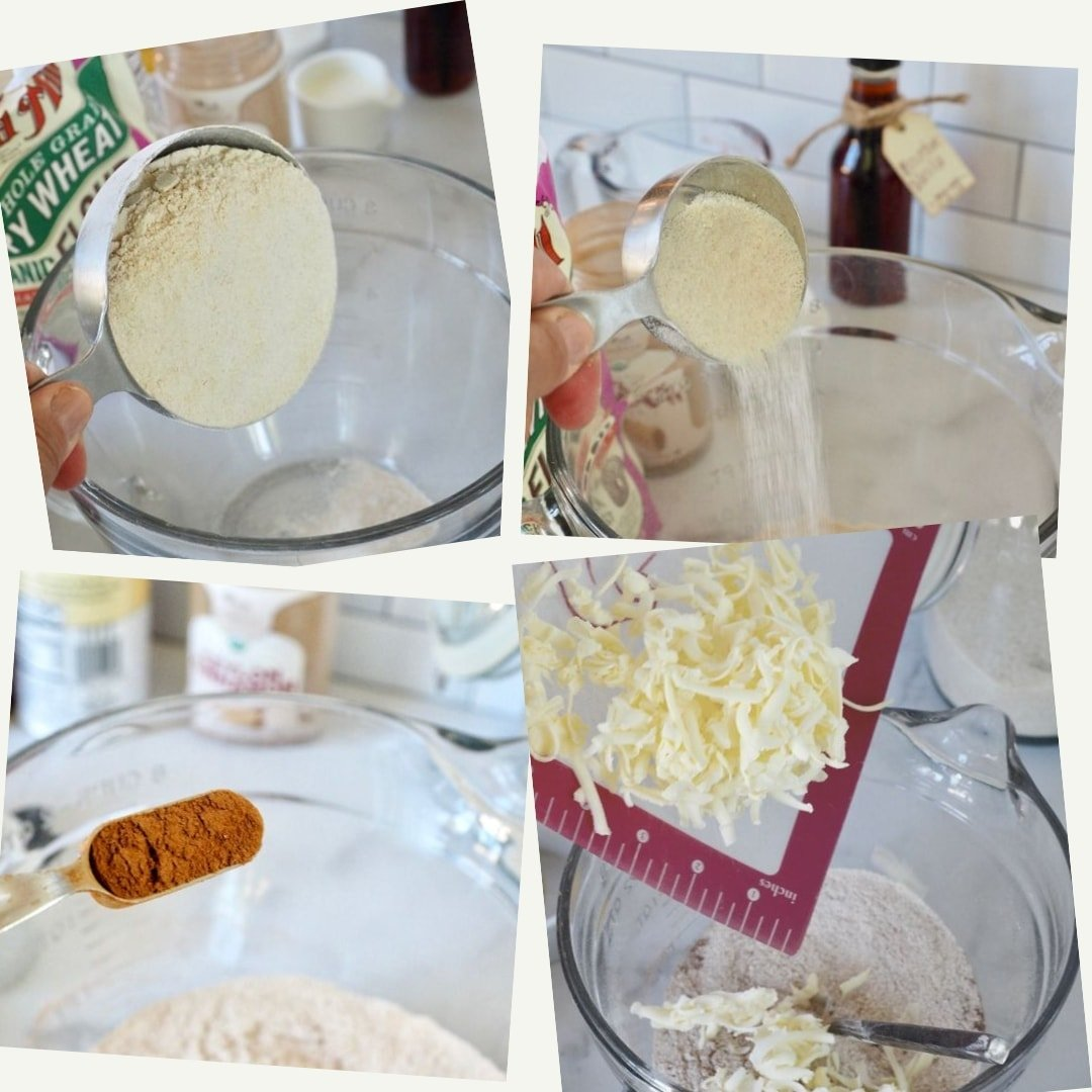Process shots for Cinnamon Crunch Scones Flour, sugar butter