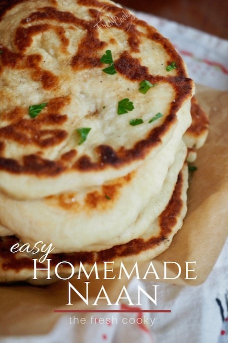 This recipe for restaurant style, homemade Naan bread is like bringing a taste of India into your kitchen. Learn how to make this simple flatbread with my step by step instructions. #thefreshcooky #naan #bread #indianfoods #authentictaste #restaurantstyle #butterchicken #curry