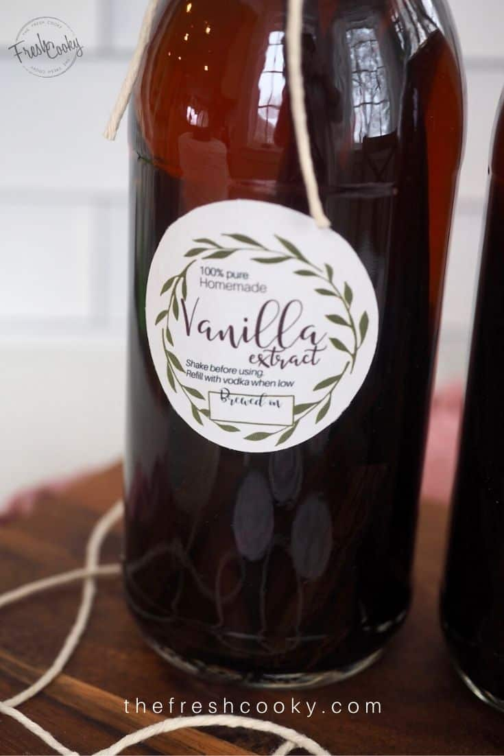 Bottle of vanilla extract with pretty label