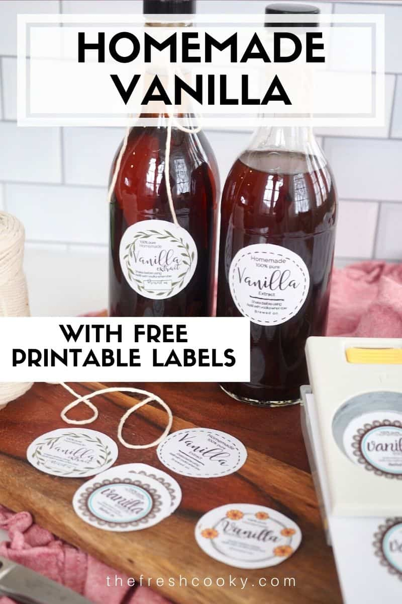 Delicious, pure vanilla extract. Simple DIY recipe using just two ingredients! Great for gift giving! Free label printable! Recipe via @thefreshcooky | #thefreshcooky #labels #free #printable #homemade #diy #foodgifts #makeyourown #howto #vodka #vanilla #vanillabeans via @thefreshcooky