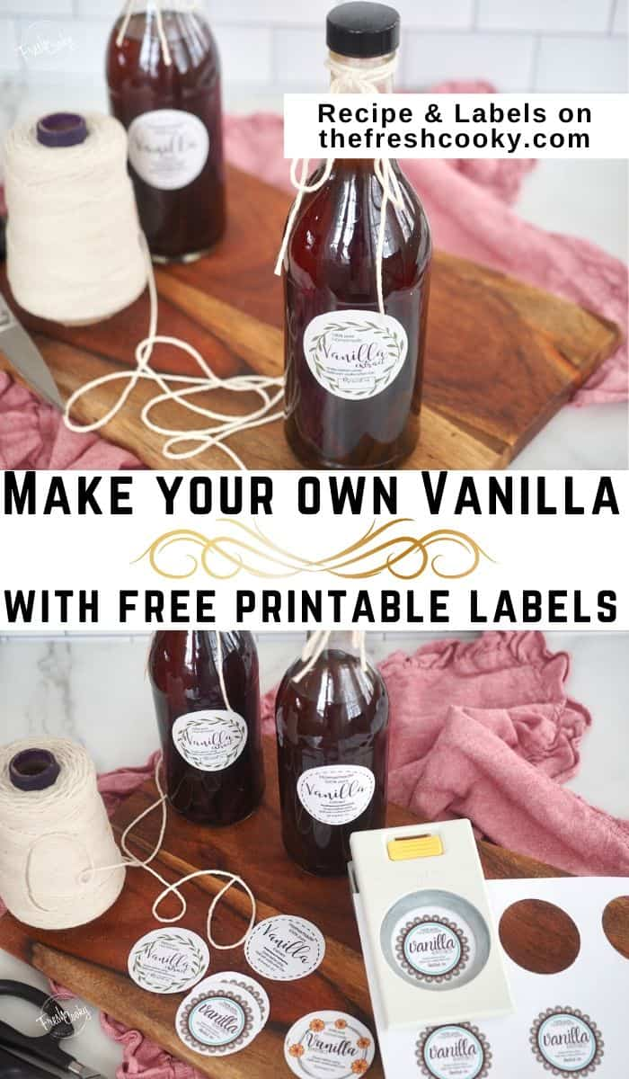 Easy Homemade Vanilla Extract. A Simple DIY recipe using just two ingredients! Make your own! Great for gift giving! Free label printable! Recipe via @thefreshcooky | #thefreshcooky #labels #free #printable #homemade #diy #foodgifts #makeyourown #howto #vodka #vanilla #vanillabeans via @thefreshcooky